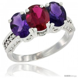 14K White Gold Natural Ruby & Amethyst Ring 3-Stone 7x5 mm Oval Diamond Accent