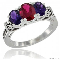 14K White Gold Natural High Quality Ruby & Amethyst Ring 3-Stone Oval with Diamond Accent