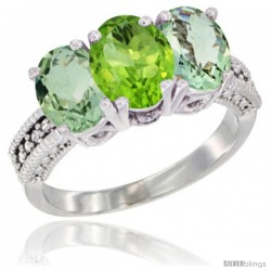 14K White Gold Natural Peridot & Green Amethyst Sides Ring 3-Stone 7x5 mm Oval Diamond Accent