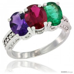 14K White Gold Natural Amethyst, Ruby & Emerald Ring 3-Stone 7x5 mm Oval Diamond Accent