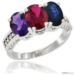 14K White Gold Natural Amethyst, Ruby & Blue Sapphire Ring 3-Stone 7x5 mm Oval Diamond Accent