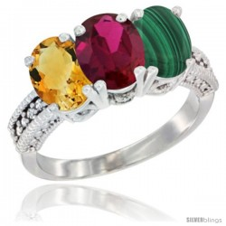 14K White Gold Natural Citrine, Ruby & Malachite Ring 3-Stone 7x5 mm Oval Diamond Accent