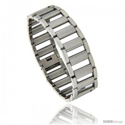 Stainless Steel Satin Finish Center Railroad Link Bracelet, 3/4 in wide, 8.25 in