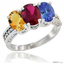14K White Gold Natural Citrine, Ruby & Tanzanite Ring 3-Stone 7x5 mm Oval Diamond Accent