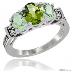 14K White Gold Natural Peridot & Green Amethyst Ring 3-Stone Oval with Diamond Accent