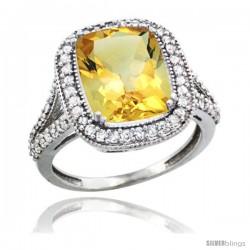 14k White Gold Diamond Halo Citrine Ring Checkerboard Cushion 12x10 4.8 ct 3/4 in wide