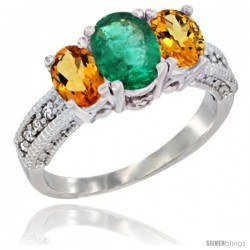 14k White Gold Ladies Oval Natural Emerald 3-Stone Ring with Citrine Sides Diamond Accent