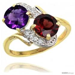 14k Gold ( 7 mm ) Double Stone Engagement Amethyst & Garnet Ring w/ 0.05 Carat Brilliant Cut Diamonds & 2.34 Carats Round