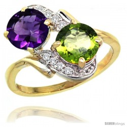 14k Gold ( 7 mm ) Double Stone Engagement Amethyst & Peridot Ring w/ 0.05 Carat Brilliant Cut Diamonds & 2.34 Carats Round