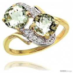 14k Gold ( 7 mm ) Double Stone Engagement Green Amethyst Ring w/ 0.05 Carat Brilliant Cut Diamonds & 2.34 Carats Round Stones