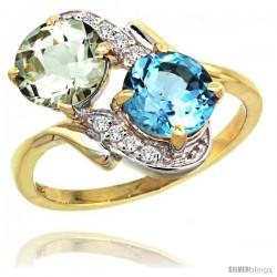 14k Gold ( 7 mm ) Double Stone Engagement Green Amethyst & Swiss Blue Topaz Ring w/ 0.05 Carat Brilliant Cut Diamonds & 2.34