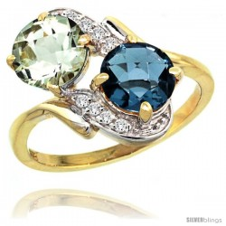 14k Gold ( 7 mm ) Double Stone Engagement Green Amethyst & London Blue Topaz Ring w/ 0.05 Carat Brilliant Cut Diamonds & 2.34