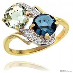 14k Gold ( 7 mm ) Double Stone Engagement Green Amethyst & London Blue Topaz Ring w/ 0.05 Carat Brilliant Cut Diamonds & 2.34