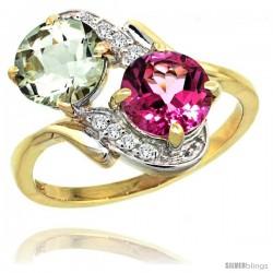 14k Gold ( 7 mm ) Double Stone Engagement Green Amethyst & Pink Topaz Ring w/ 0.05 Carat Brilliant Cut Diamonds & 2.34 Carats