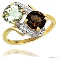 14k Gold ( 7 mm ) Double Stone Engagement Green Amethyst & Smoky Topaz Ring w/ 0.05 Carat Brilliant Cut Diamonds & 2.34 Carats