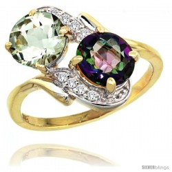 14k Gold ( 7 mm ) Double Stone Engagement Green Amethyst & Mystic Topaz Ring w/ 0.05 Carat Brilliant Cut Diamonds & 2.34 Carats