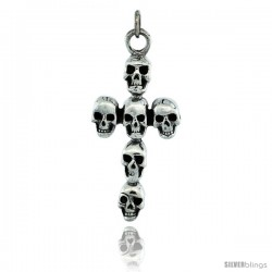 Sterling Silver Skull Cross Pendant, 1 3/4 in tall -Style Px438