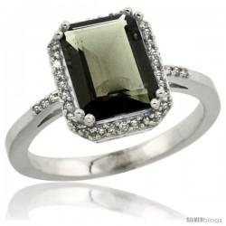10k White Gold Diamond Smoky Topaz Ring 2.53 ct Emerald Shape 9x7 mm, 1/2 in wide
