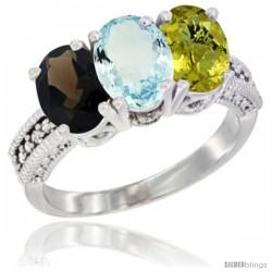 10K White Gold Natural Smoky Topaz, Aquamarine & Lemon Quartz Ring 3-Stone Oval 7x5 mm Diamond Accent