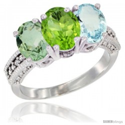 14K White Gold Natural Green Amethyst, Peridot & Aquamarine Ring 3-Stone 7x5 mm Oval Diamond Accent