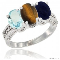 10K White Gold Natural Aquamarine, Tiger Eye & Lapis Ring 3-Stone Oval 7x5 mm Diamond Accent