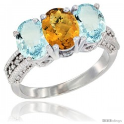10K White Gold Natural Whisky Quartz & Aquamarine Sides Ring 3-Stone Oval 7x5 mm Diamond Accent