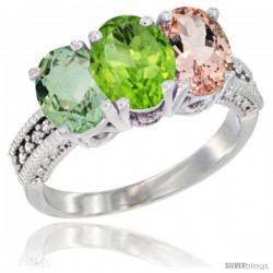 14K White Gold Natural Green Amethyst, Peridot & Morganite Ring 3-Stone 7x5 mm Oval Diamond Accent