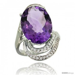 14k White Gold Natural Amethyst Ring 16x12 mm Oval Shape Diamond Halo, 1 in