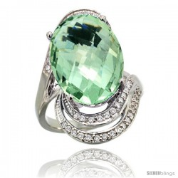 14k White Gold Natural Green Amethyst Ring 16x12 mm Oval Shape Diamond Halo, 1 in