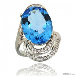 14k White Gold Natural Swiss Blue Topaz Ring 16x12 mm Oval Shape Diamond Halo, 1 in