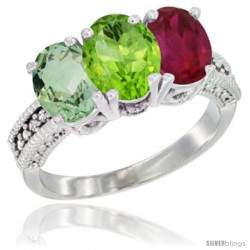 14K White Gold Natural Green Amethyst, Peridot & Ruby Ring 3-Stone 7x5 mm Oval Diamond Accent