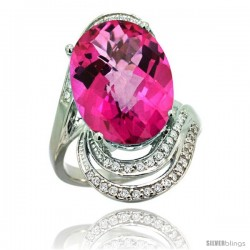 14k White Gold Natural Pink Topaz Ring 16x12 mm Oval Shape Diamond Halo, 1 in