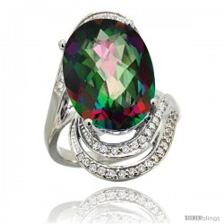 14k White Gold Natural Mystic Topaz Ring 16x12 mm Oval Shape Diamond Halo, 1 in