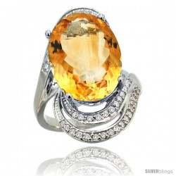 14k White Gold Natural Citrine Ring 16x12 mm Oval Shape Diamond Halo, 1 in