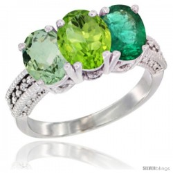 14K White Gold Natural Green Amethyst, Peridot & Emerald Ring 3-Stone 7x5 mm Oval Diamond Accent