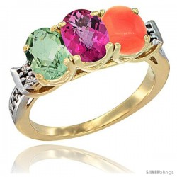10K Yellow Gold Natural Green Amethyst, Pink Topaz & Coral Ring 3-Stone Oval 7x5 mm Diamond Accent