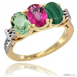 10K Yellow Gold Natural Green Amethyst, Pink Topaz & Malachite Ring 3-Stone Oval 7x5 mm Diamond Accent