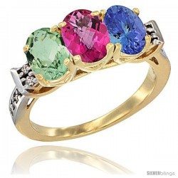 10K Yellow Gold Natural Green Amethyst, Pink Topaz & Tanzanite Ring 3-Stone Oval 7x5 mm Diamond Accent