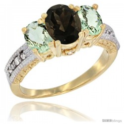 10K Yellow Gold Ladies Oval Natural Smoky Topaz 3-Stone Ring with Green Amethyst Sides Diamond Accent