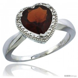 14k White Gold Ladies Natural Garnet Ring Heart-shape 8x8 Stone Diamond Accent