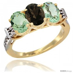 10K Yellow Gold Natural Smoky Topaz & Green Amethyst Sides Ring 3-Stone Oval 7x5 mm Diamond Accent