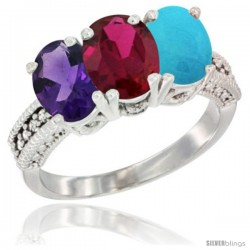 14K White Gold Natural Amethyst, Ruby & Turquoise Ring 3-Stone 7x5 mm Oval Diamond Accent