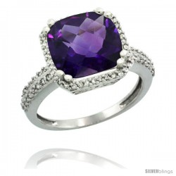 14k White Gold Diamond Halo Amethyst Ring Checkerboard Cushion 11 mm 5.85 ct 1/2 in wide -Style Cw401142