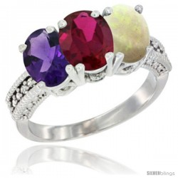 14K White Gold Natural Amethyst, Ruby & Opal Ring 3-Stone 7x5 mm Oval Diamond Accent