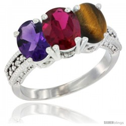 14K White Gold Natural Amethyst, Ruby & Tiger Eye Ring 3-Stone 7x5 mm Oval Diamond Accent