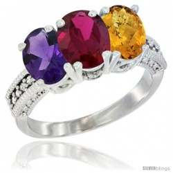 14K White Gold Natural Amethyst, Ruby & Whisky Quartz Ring 3-Stone 7x5 mm Oval Diamond Accent