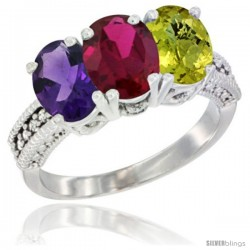 14K White Gold Natural Amethyst, Ruby & Lemon Quartz Ring 3-Stone 7x5 mm Oval Diamond Accent
