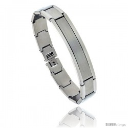 Stainless Steel Satin Finish Center ID Bracelet, 1/2 in wide, 8 in long