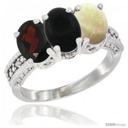 14K White Gold Natural Garnet, Black Onyx & Opal Ring 3-Stone 7x5 mm Oval Diamond Accent