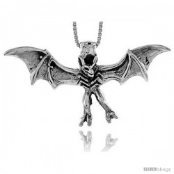 Sterling Silver Bat Pendant, 1 3/4 in (46 mm) wide